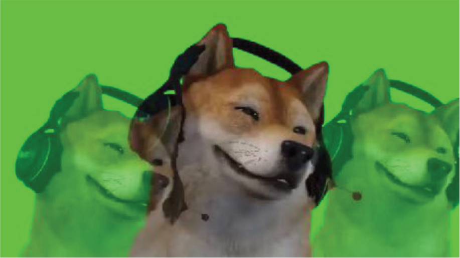 A screenshot of a 3D shiba in Facerig