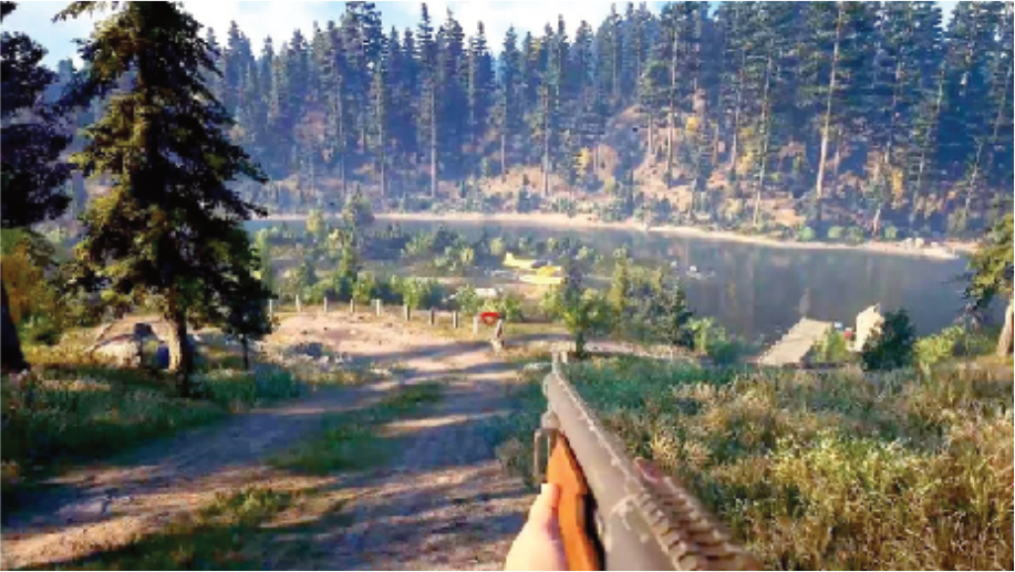 A screenshot of Far Cry 5, overlooking a forest. The main player character wields a shotgun