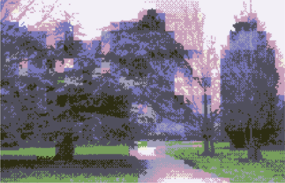 A digitally corrupted photo of Finsbury Park, London.