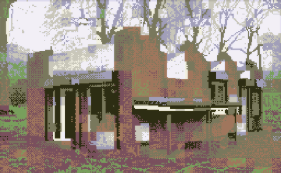 A digitally corrupted photo of the front of Furtherfield Commons, Finsbury Park, London.