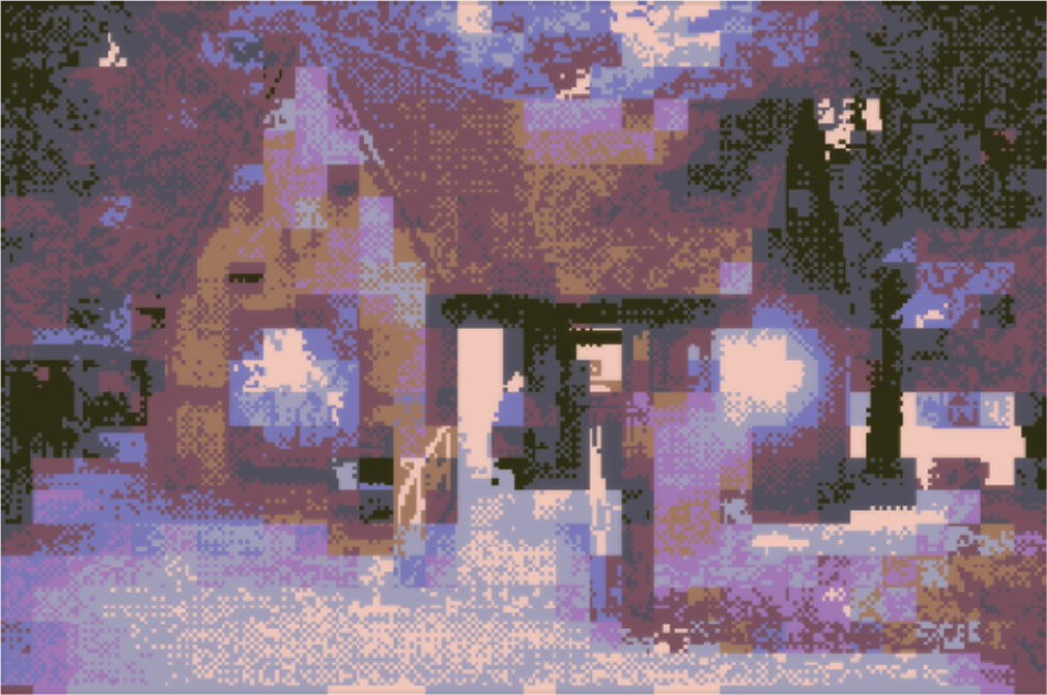 A digitally corrupted photo of the front of Furtherfield Gallery, Finsbury Park, London.